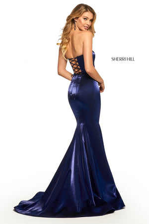 Sherri Hill 52961 prom dress images.  Sherri Hill 52961 is available in these colors: Wine; Red; Teal; Yellow; Royal; Black.