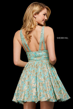 Sherri Hill 52965 prom dress images.  Sherri Hill 52965 is available in these colors: Ivory Gold; Black Gold; Navy Gold; Coral Gold; Burgundy Gold; Aqua Gold.
