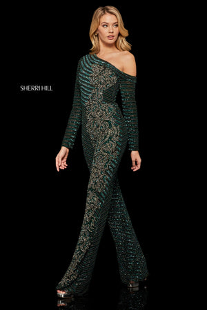 Sherri Hill 52966 prom dress images.  Sherri Hill 52966 is available in these colors: Black Teal; Black Navy; Nude Silver.