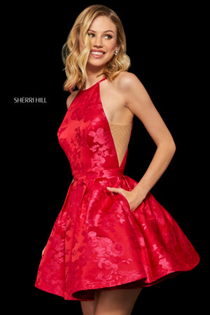 Sherri Hill 52967 prom dress images.  Sherri Hill 52967 is available in these colors: Red Pink.