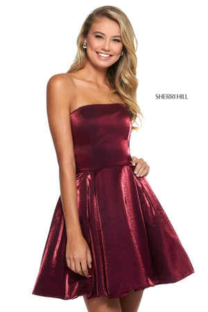 Sherri Hill 52969 prom dress images.  Sherri Hill 52969 is available in these colors: Red; Royal; Yellow; Wine; Teal.