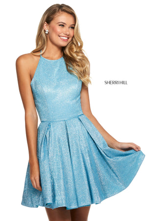Sherri Hill 52970 prom dress images.  Sherri Hill 52970 is available in these colors: Nude Silver; Red Silver; Aqua Silver; Royal Silver; Fuchsia Silver; Mocha Silver; Turq Silver.