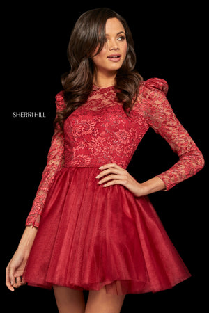 Sherri Hill 52981 prom dress images.  Sherri Hill 52981 is available in these colors: Aqua; Red; Black; Wine; Ivory.