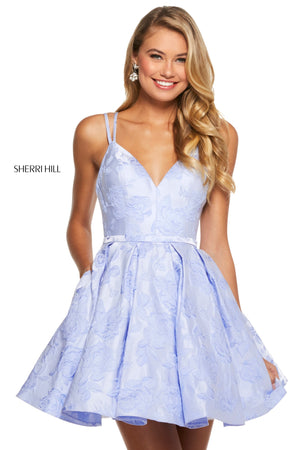 Sherri Hill 52983 prom dress images.  Sherri Hill 52983 is available in these colors: Yellow; Ivory; Light Coral; Periwinkle.