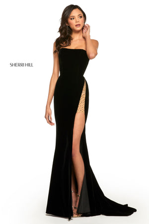 Sherri Hill 52988 prom dress images.  Sherri Hill 52988 is available in these colors: Black; Navy; Fuchsia; Wine.