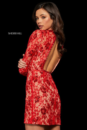 Sherri Hill 52990 prom dress images.  Sherri Hill 52990 is available in these colors: Black; Red; Ivory.