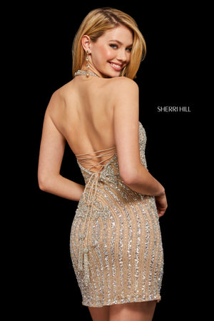 Sherri Hill 52992 prom dress images.  Sherri Hill 52992 is available in these colors: Light Blue; Nude Silver; Black; Navy; Emerald; Rose; Burgundy; Red; Peacock.