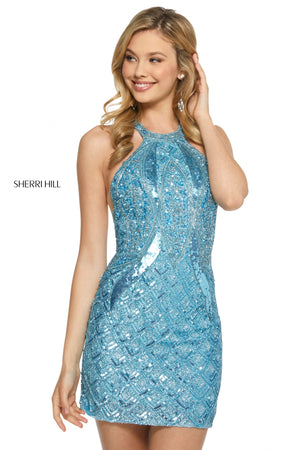 Sherri Hill 52993 prom dress images.  Sherri Hill 52993 is available in these colors: Light Blue; Black; Wine; Silver; Red; Lilac; Gold.