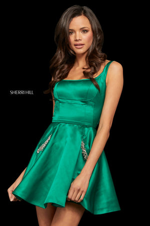 Sherri Hill 52995 prom dress images.  Sherri Hill 52995 is available in these colors: Emerald; Royal; Ivory; Red; Fuchsia.