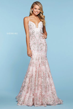 Sherri Hill 52996 prom dress images.  Sherri Hill 52996 is available in these colors: Lilac, Pink, Seafoam, Ivory, Light Blue.