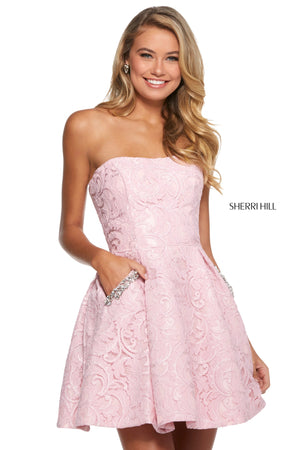 Sherri Hill 53002 prom dress images.  Sherri Hill 53002 is available in these colors: Blush; Light Blue; Black; Ivory.