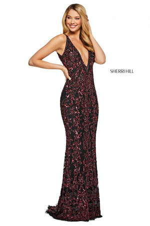 Sherri Hill 53006 prom dress images.  Sherri Hill 53006 is available in these colors: Burgundy Blush, Black Burgundy, Nude Aqua, Nude Light Blue, Navy, Gold, Ivory Silver, Nude Silver.
