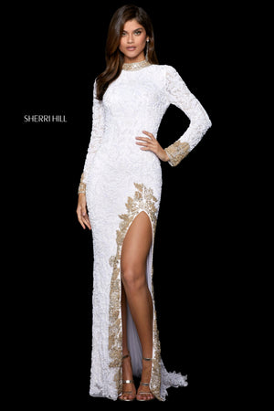 Sherri Hill 53007 prom dress images.  Sherri Hill 53007 is available in these colors: White Gold; Light Blue Gold; Black Gold.