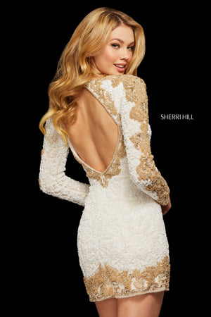 Sherri Hill 53013 prom dress images.  Sherri Hill 53013 is available in these colors: Burgundy; White Gold; Light Blue Gold; Black Gold.