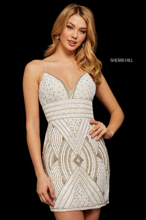 Sherri Hill 53015 prom dress images.  Sherri Hill 53015 is available in these colors: Silver; Burgundy; Gold; Ivory Silver; Black; Rose Gold.
