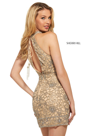 Sherri Hill 53017 prom dress images.  Sherri Hill 53017 is available in these colors: Nude Silver; Ivory Silver; Black.