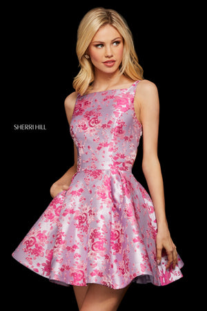 Sherri Hill 53021 prom dress images.  Sherri Hill 53021 is available in these colors: Fuchsia Lilac Print; Blue Purple Print; Pink Aqua Print; Pink Silver Print.