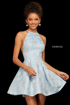Sherri Hill 53022 prom dress images.  Sherri Hill 53022 is available in these colors: Light Yellow Print; Blue Print; Ivory Print.