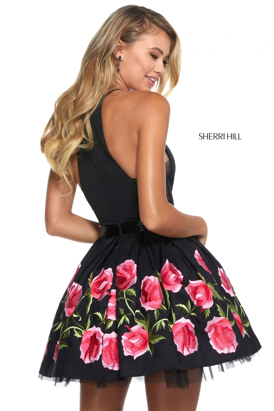 Sherri Hill 53023 prom dress images.  Sherri Hill 53023 is available in these colors: Black Red; Black Fuchsia.