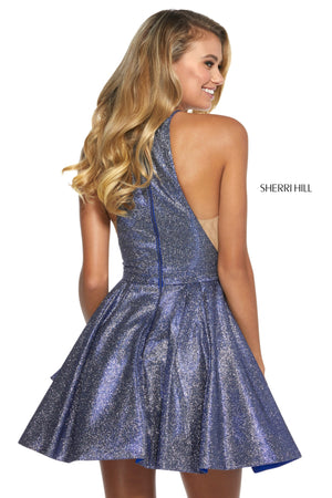 Sherri Hill 53027 prom dress images.  Sherri Hill 53027 is available in these colors: Nude Silver; Red Silver; Royal Silver; Mocha Silver; Fuchsia Silver; Turq Silver; Aqua Silver.