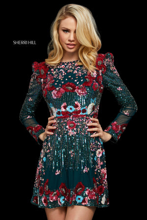 Sherri Hill 53029 prom dress images.  Sherri Hill 53029 is available in these colors: Teal; Burgundy; Ivory Multi.
