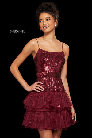 Sherri Hill 53033 prom dress images.  Sherri Hill 53033 is available in these colors: Navy; Black; Burgundy; Ivory Silver; Light Blue; Gold; Light Pink.