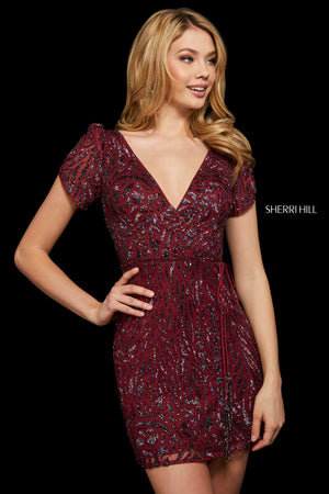 Sherri Hill 53035 prom dress images.  Sherri Hill 53035 is available in these colors: Gold; Silver; Burgundy; Teal; Black Multi.