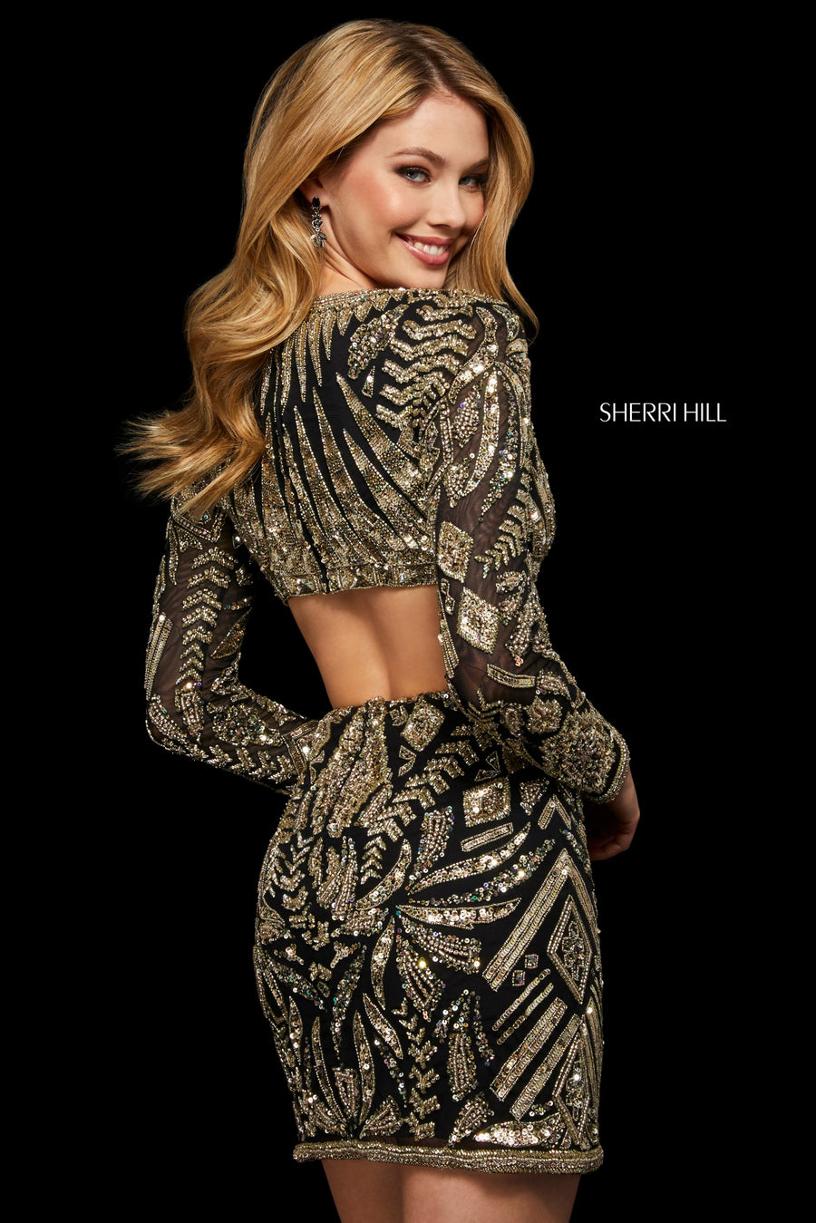 Sherri Hill 53038 prom dress images.  Sherri Hill 53038 is available in these colors: Black Gold; Ivory Gold.