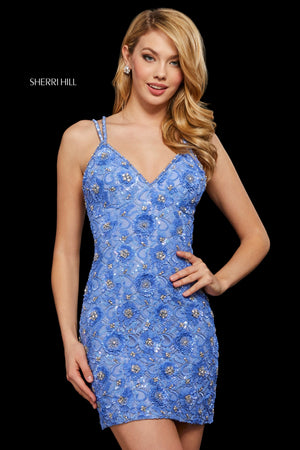 Sherri Hill 53053 prom dress images.  Sherri Hill 53053 is available in these colors: Periwinkle; Ivory; Black; Light Blue.