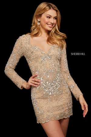 Sherri Hill 53056 prom dress images.  Sherri Hill 53056 is available in these colors: Nude Silver; Black; Navy; Teal; Burgundy.