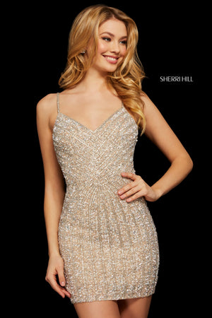 Sherri Hill 53060 prom dress images.  Sherri Hill 53060 is available in these colors: Nude Silver; Navy; Blush; Burgundy.