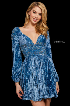 Sherri Hill 53063 prom dress images.  Sherri Hill 53063 is available in these colors: Rose; Dusty Blue.