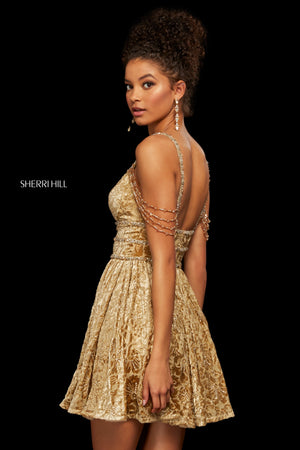 Sherri Hill 53065 prom dress images.  Sherri Hill 53065 is available in these colors: Burgundy; Ivory Silver; Gold.