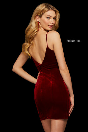 Sherri Hill 53067 prom dress images.  Sherri Hill 53067 is available in these colors: Wine; Teal; Black; Navy.