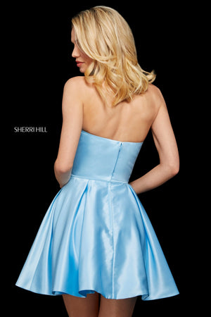 Sherri Hill 53068 prom dress images.  Sherri Hill 53068 is available in these colors: Ivory; Mocha; Rose; Yellow; Turquoise; Black; Light Blue; Red.