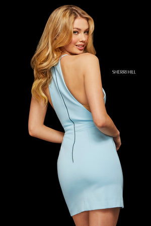 Sherri Hill 53069 prom dress images.  Sherri Hill 53069 is available in these colors: Light Blue; Fuchsia; Gunmetal; Yellow; Red; Black; Navy; Wine; Ivory; Plum; Emerald.