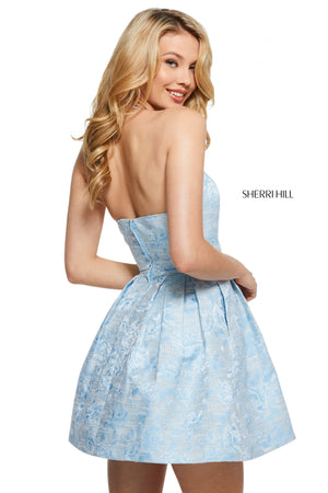 Sherri Hill 53072 prom dress images.  Sherri Hill 53072 is available in these colors: Ivory; Yellow; Light Blue.