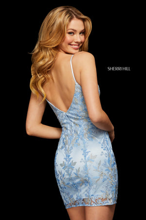 Sherri Hill 53073 prom dress images.  Sherri Hill 53073 is available in these colors: Ivory; Pink; Lilac; Periwinkle; Seafoam.