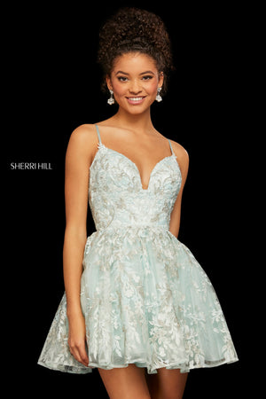 Sherri Hill 53074 prom dress images.  Sherri Hill 53074 is available in these colors: Periwinkle; Ivory; Pink; Lilac; Seafoam.