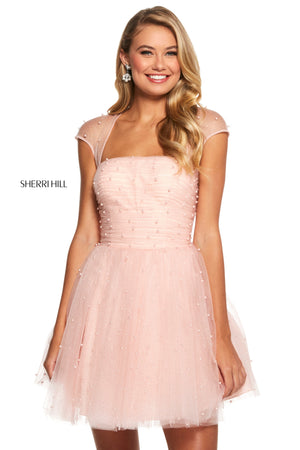 Sherri Hill 53077 prom dress images.  Sherri Hill 53077 is available in these colors: Light Blue; Ivory; Blush; Yellow.