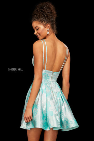 Sherri Hill 53078 prom dress images.  Sherri Hill 53078 is available in these colors: Mint; Fuchsia.