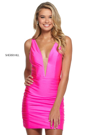Sherri Hill 53082 prom dress images.  Sherri Hill 53082 is available in these colors: Ruby; Turquoise; Black; Aqua; Hot Pink.