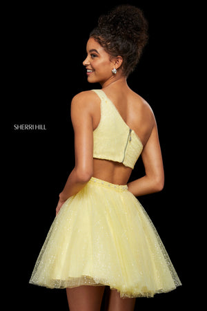 Sherri Hill 53086 prom dress images.  Sherri Hill 53086 is available in these colors: Ivory; Blush; Light Blue; Yellow.
