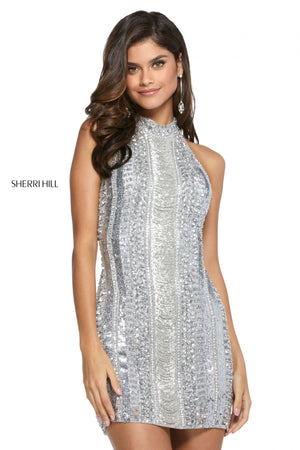 Sherri Hill 53092 prom dress images.  Sherri Hill 53092 is available in these colors: Silver; Gold.