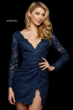 Sherri Hill 53094 prom dress images.  Sherri Hill 53094 is available in these colors: Black; Wine; Navy; Ivory; Silver; Gold; Rose Gold.