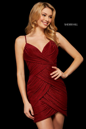 Sherri Hill 53097 prom dress images.  Sherri Hill 53097 is available in these colors: Wine; Black; Navy.