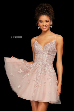 Sherri Hill 53098 prom dress images.  Sherri Hill 53098 is available in these colors: Blush; Light Blue; Black; Burgundy; Navy; Ivory; Nude.
