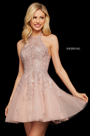 Sherri Hill 53100 prom dress images.  Sherri Hill 53100 is available in these colors: Navy; Wine; Nude; Black; Blush; Ivory.