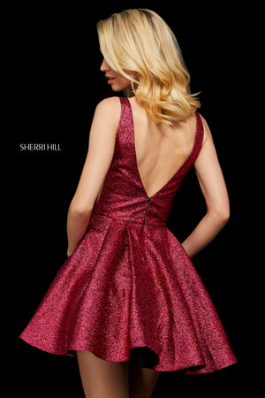 Sherri Hill 53106 prom dress images.  Sherri Hill 53106 is available in these colors: Gold; Peacock; Fuchsia.