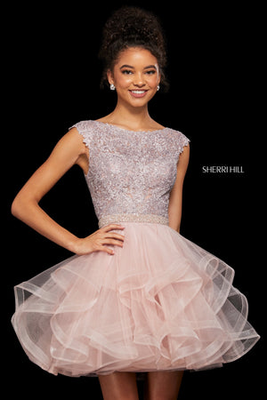Sherri Hill 53109 prom dress images.  Sherri Hill 53109 is available in these colors: Blush; Navy; Wine; Rose Gold; Light Blue; Black.